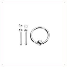 "**BLOW OUT SALE** 316L Surgical Steel Nose Bone Ball 2mm CZ 5/16"" Hoop Mixed 3 Pack"