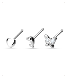 3 Pack 316L Surgical Steel Nose Bone 20G