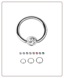 316L Surgical Steel or Titanium Captive Bead Nose Ring Hoop 2mm CZ - Choose Size & Color