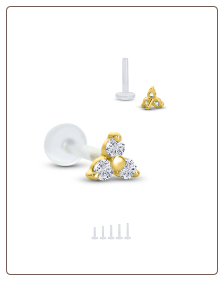14KT Yellow Gold Bioflex Nose Stud or Nose Screw Push Pin Labret Style Nose Stud 3.5mm Trinity