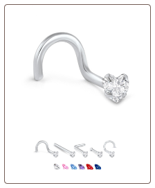 White Gold Nose Jewelry Heart CZ -Choose Your Style