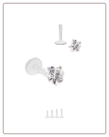 Bioflex Labret Style Push Pin Nose Stud or Nose Screw 6mm CZ Heart 18G 16G