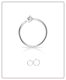 925 Sterling Silver Nose Ring Tragus Daith Helix Ear Cartilage Hoop 22G