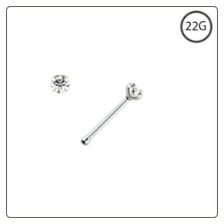 925 Sterling Silver Nose Bone Tiny Micro 1mm Clear CZ 22G