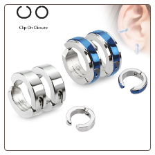 **BLOW OUT SALE** Fake Clip On Earrings Hoop Cartilage Blue or Steel Ring Surgical Steel 5/16""