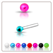 925 Sterling Silver Nose Studs Pins Straight or L Bend Colored Ball