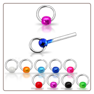 925 Sterling Silver Nose Studs Pins Straight or L Bend Hoop Colored Ball