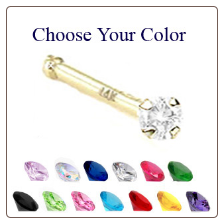 **BLOW OUT SALE** 14KT Gold Nose Bone -Choose Your Color 2mm CZ