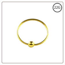 "Nose Ring 18KT Gold Plated Hoop Captive 3/8"" 9.5mm 22G"