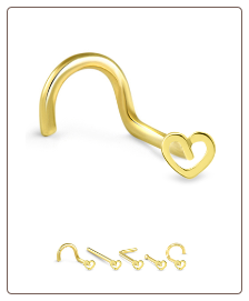 14K Solid Yellow Gold Nose Bone 3mm Heart -Choose Your Style