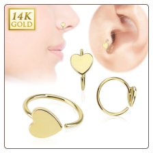 "14KT Yellow Gold Heart Nose Ring Daith Ear Cartilage 5/16"" 20G"