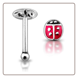 925 Sterling Silver Nose Bone 2.5mm Lady Bug