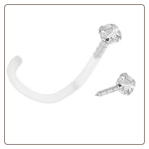 14KT White Gold Bioflex Nose Screw 2mm CZ 18G