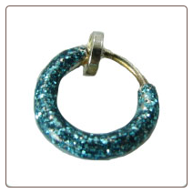 **BLOW OUT SALE** 925 Sterling Silver Sparkly Aqua Fake Nose Ring Hoop 5/16""