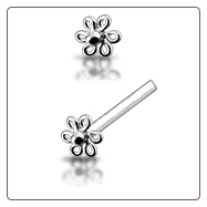 925 Sterling Silver Nose Studs Pins Straight or L Bend Silver Flower Coil