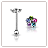 925 Sterling Silver Nose Bone Spring Flower