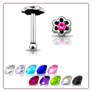 925 Sterling Silver Nose Bone Silver Anodised 3mm Flower Gem
