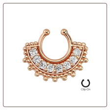**BLOW OUT SALE** Rose Gold Plated Fake Septum Clicker Clip On Non Piercing Nose Ring Hoop Tribal Fan