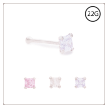 925 Sterling Silver Nose Bone 2mm CZ Square Choose Your Color 22G