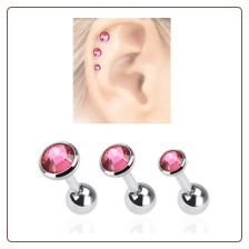 3 Pack Ear Cartilage Tragus Helix Pink CZ Stud 316L Surgical Steel 16G