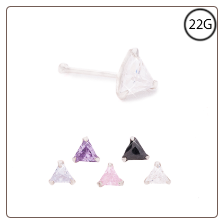 925 Sterling Silver Nose Bone 3mm CZ Triangle Choose Your Color 22G