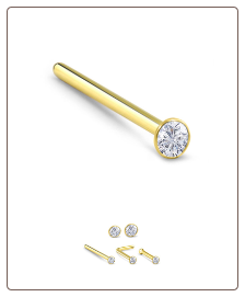 10KT Gold Straight L Bend Nose Bone Stud - Choose Your Size 22G